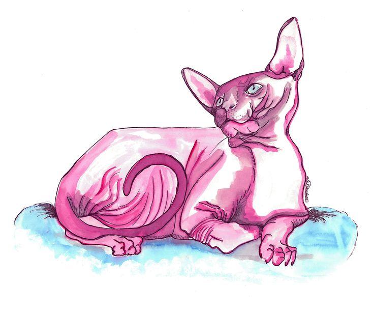 Pinky Panther by @alejandravvss  #cat #pink #panther #pinkpanther #gato #rosa #watercolor #aleksandrav #art