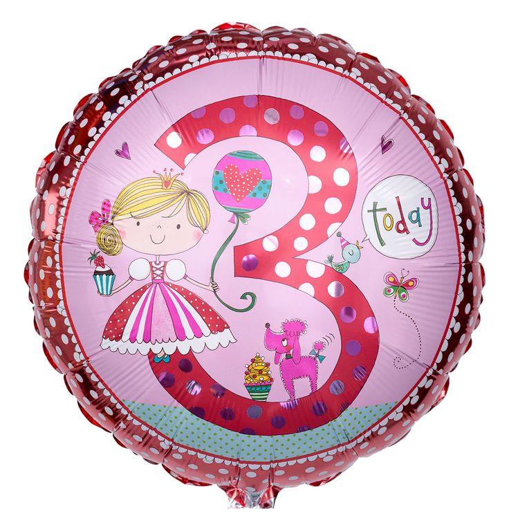 Verschenken Sie zum 3. Geburtstag eines Mädchens diesen rosaroten Zahlenballon in runder Form mit märchenhaftem Aufdruck der Designerin Rachel Ellen.