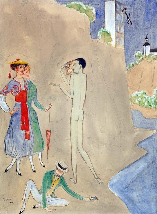 Nils Dardel Konversation, 1918, watercolour