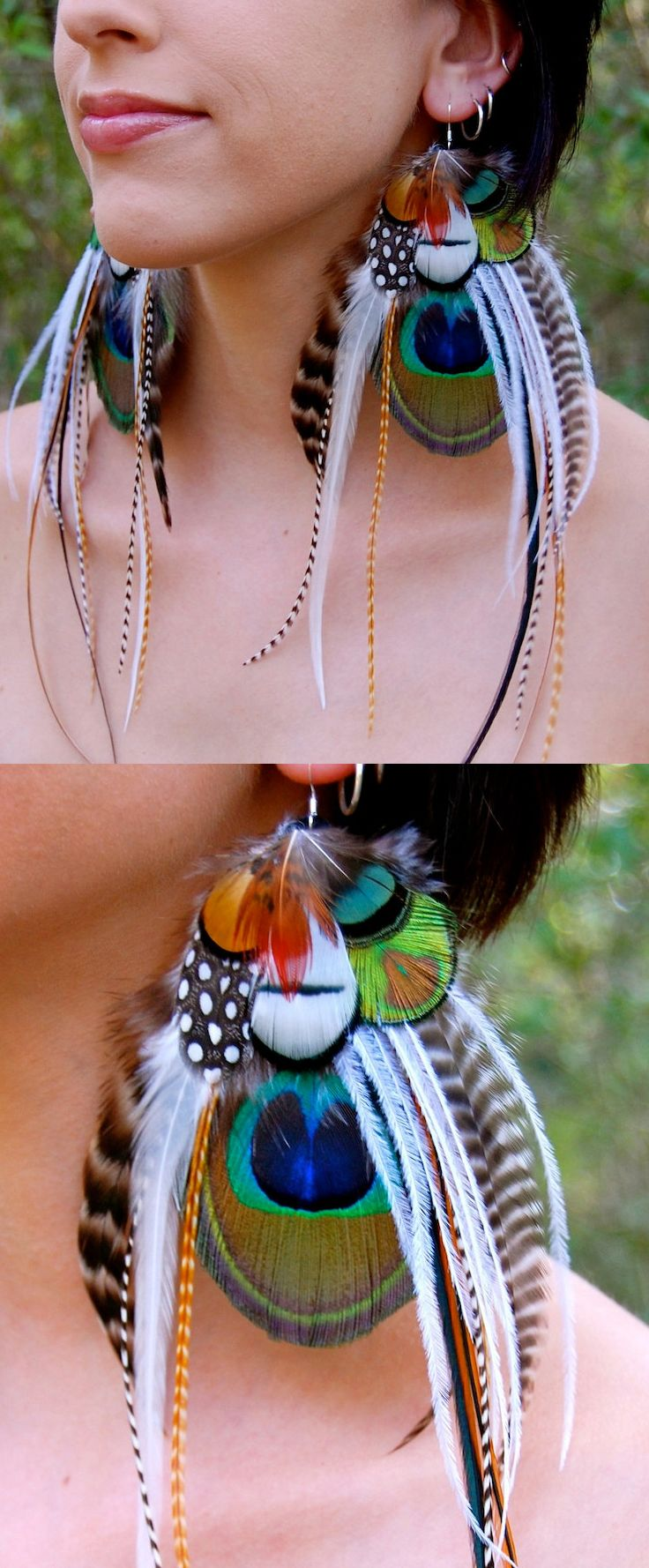 Woodland Peacock, Pheasant, Dangle Tassel Peacock Feather Earrings. Make a statement with these gorgeous peacock earrings! These stunning large peacock eye feathers are accented by natural black/white, furnace, ginger barred, and cream grizzly feathers. Beautiful white ostrich tendrils are layered on top. Peacock accessories. Burning Man Festival ideas. #peacocks #earrings #peacockearring #burningman #festivalearrings #festivals #affiliatelink #etsyfinds #fashion #ethicalfashion