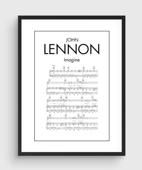 John Lennon Imagine chanson musique Notes affiche, Poster impression minimale noir & blanc, Art, maison Art, graphisme Minimal, musique Poster, décoration de la maison par PurePrint sur Etsy https://www.etsy.com/ca-fr/listing/260047769/john-lennon-imagine-chanson-musique