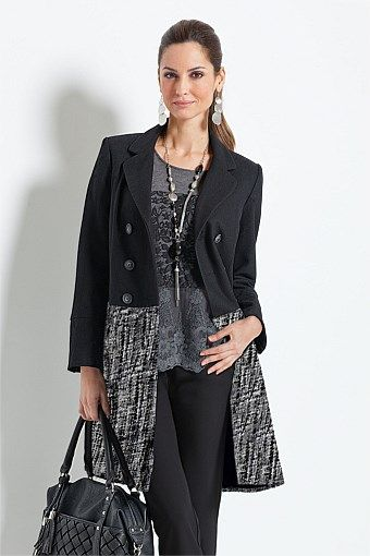 Together Tweed Coat. Model is skinny but this has a great size range + very high fabric quality. A good priced investment.