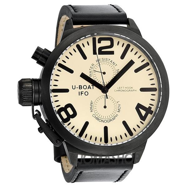 U-Boat Casa Nera Beige Dial Chronograph Black Leather Mens Watch 365