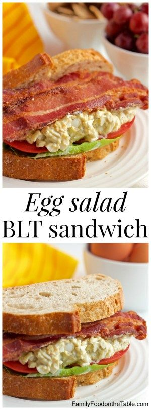 Creamy egg salad is paired with fresh tomatoes, soft Bibb lettuce and crispy strips of bacon for a stellar lunch sandwich! | FamilyFoodontheTable.com