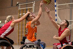 This Adapted Activity is special because it allows for this men and women to play basketball. This Adapted basketball games allows for them to use their wheelchairs and be able to play the great game of basketball!