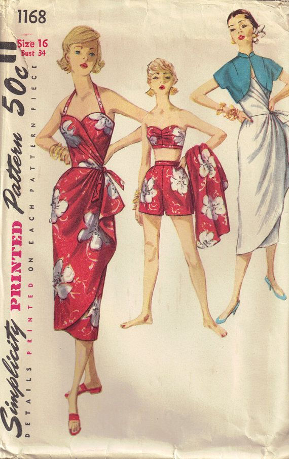 NEED this pattern! Vintage 1950s Simplicity 1168 Sewing Pattern Sarong Dress, Bra, jacket, shorts Size 16 Bust 34