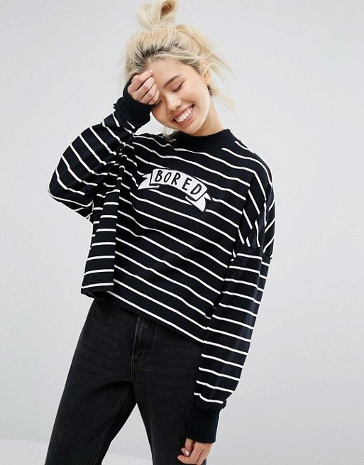 Lazy Oaf Mono Oversized Bored Long Sleeve Top In Stripe
