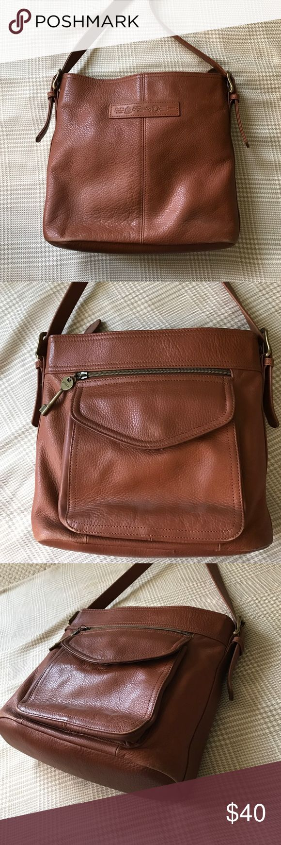 NWOT - Fossil Brown Leather Satchel NWOT - Fossil Brown Leather Satchel. Lots of compartment inside. Fossil Bags Satchels