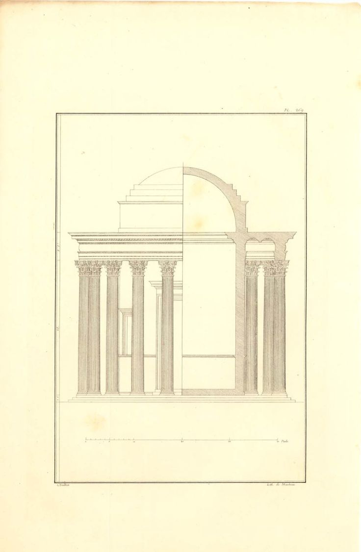 1842 Temple of Vesta, Andrea Palladio Architect Drawing 170 Years Old, Plate 269