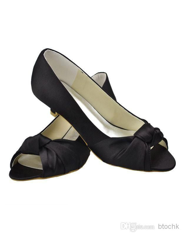 Black Peep Toe Bow Satin Bridal Shoes Women Wedding Shoes Sale Comfortable Wedding Shoes Discount Shoes Online From Btochk, $58.29| Dhgate.Com