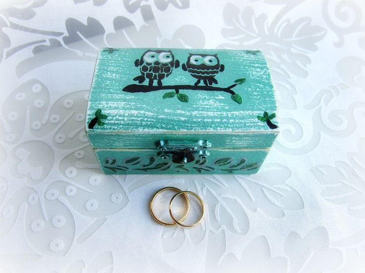 Cuscini per le fedi - Scatola portafedi gufi, bauletto portafedi rustico - un prodotto unico di GattyGatty su DaWanda