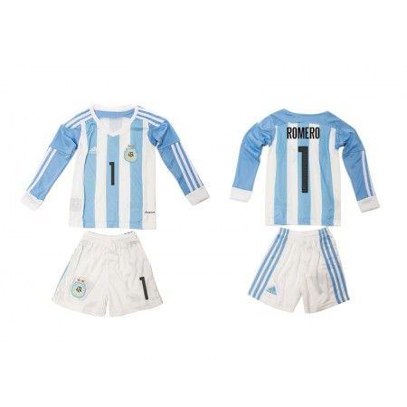 Argentina Trøje Børn 2016 #Romero 1 Hjemmebanetrøje Lange ærmer.222,01KR.shirtshopservice@gmail.com