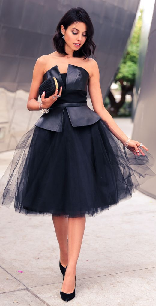 Black Leather And Tulle Off Shoulder Party Dress by Vivaluxury