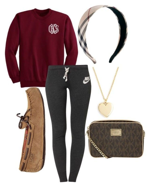 Sweatpant Tag by preppy-pearlgirl ❤ liked on Polyvore featuring NIKE, UGG Australia, J.Crew, Burberry, MICHAEL Michael Kors and chloesolms