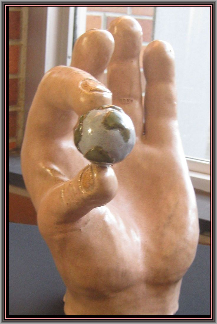 Ceramic Sculpture of large hand holding small globe