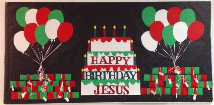 December/Christmas bulletin board idea (The presents hold ...