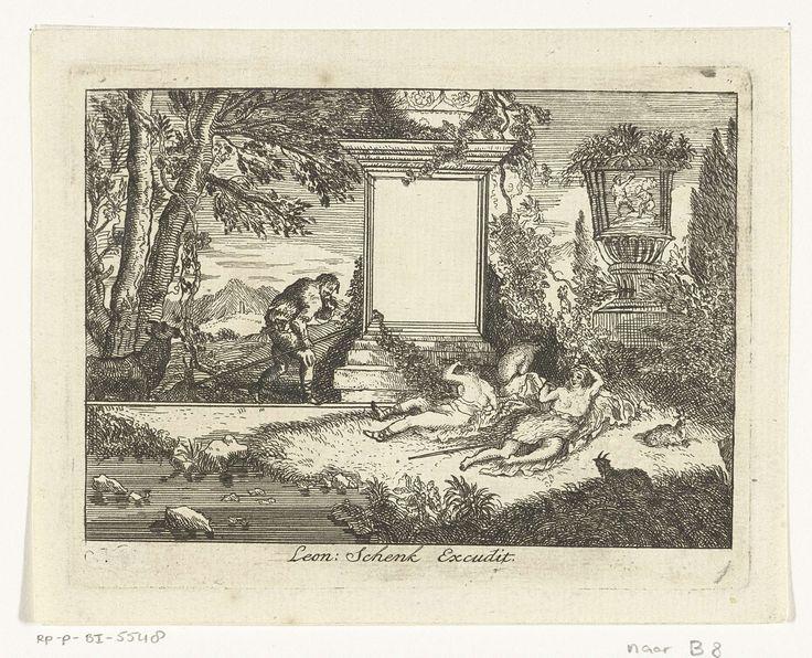 Anonymous | Slapende herderinnen, Anonymous, Adriaen van der Kabel, Leonard Schenk, 1710 - 1746 | Drie schaars geklede vrouwen aan de voet van een zuil waarnaast een staande man, een koe en enkele geiten.