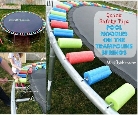 DIY Pool Noodle Trampoline Springs for kids safety. Love this idea!! #diy #home #kids