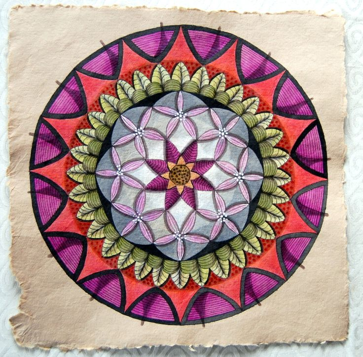 Mandala on hand made paper. Twinks.