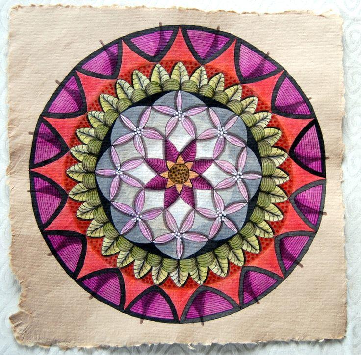 Mandala on hand made paper. Twinks.