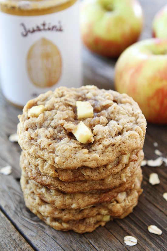 Peanut Butter Apple Oatmeal Cookies Recipe on twopeasandtheirpod.com These cookies will remind you of your favorite snack, but they are even better!