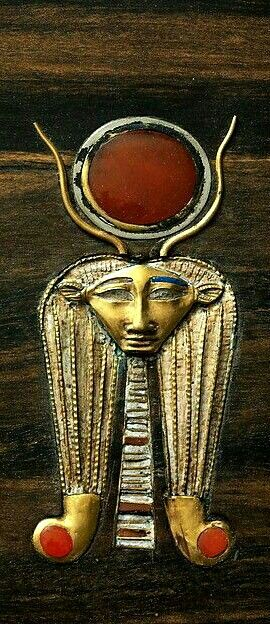 Ancient Egypt | Head of Hathor from the jewelry chest of Sithathoryunet, Middle Kingdom, 12th dynasty.