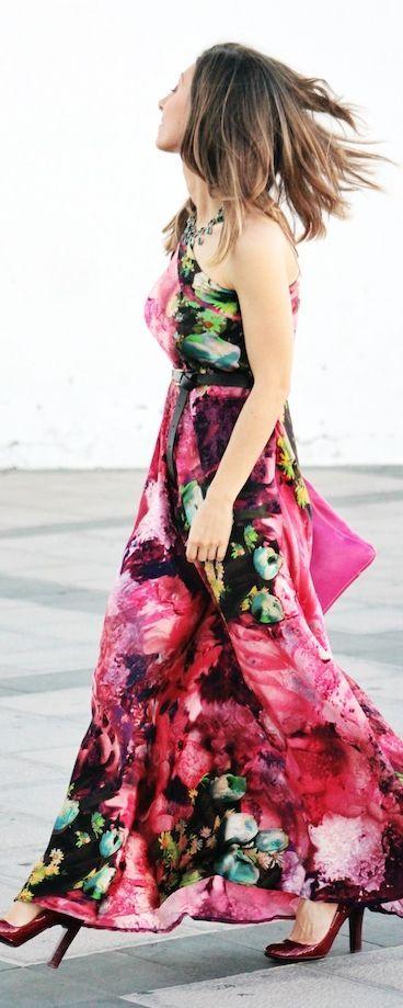 Miau Boutique Multi Coloured Colorblock Abstract Print One Shoulder Maxi Dress