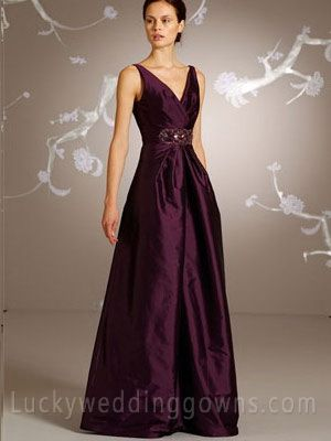 Eggplant Taffeta A-line Long Bridesmaid Dress with Ruched V-neck Bodice