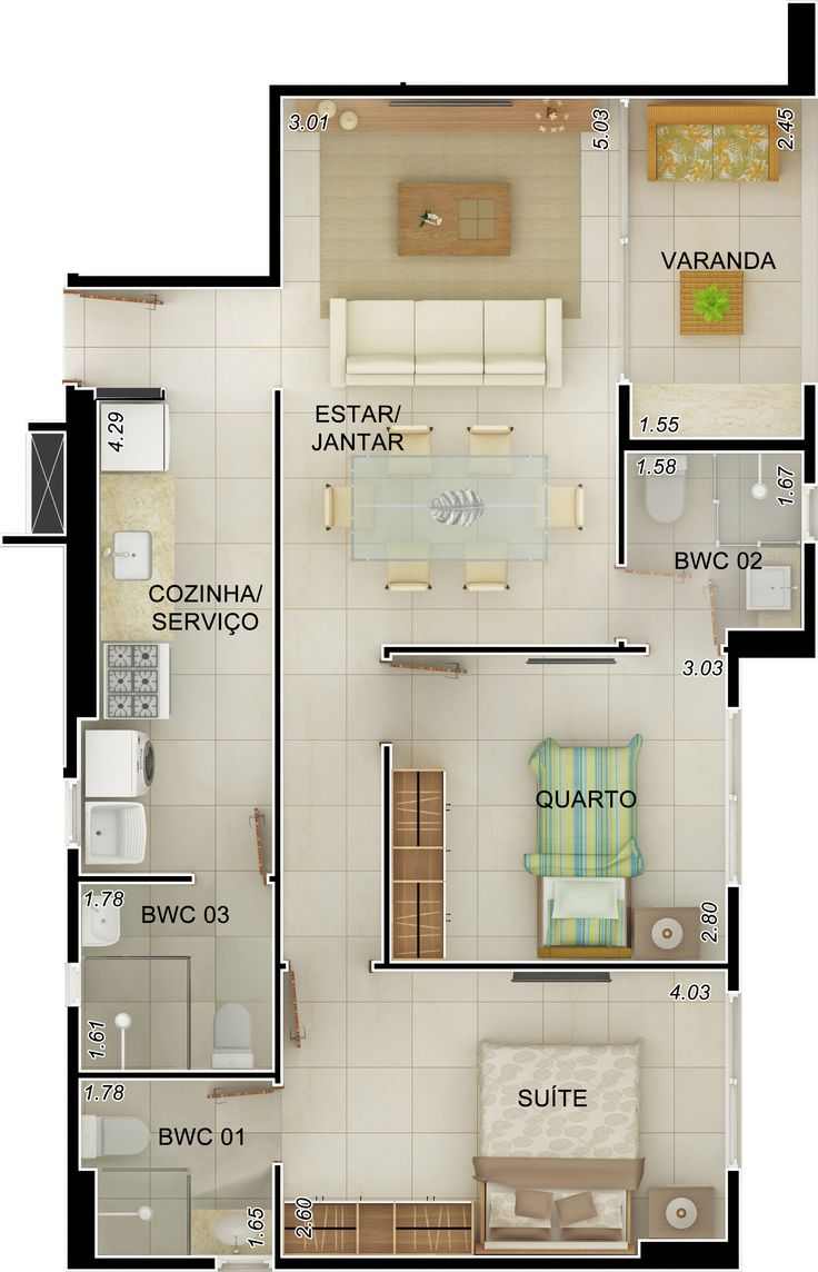 Projeto Apartamento 90m2   Pesquisa Google