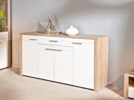 Te encantará cómo queda integrado el mueble de salón aparador en color roble con frentes en blanco alto brillo. Se compone por 4 puertas y un cajón central. Disponible el mueble para TV y la mesa de comedor extensible a juego....
