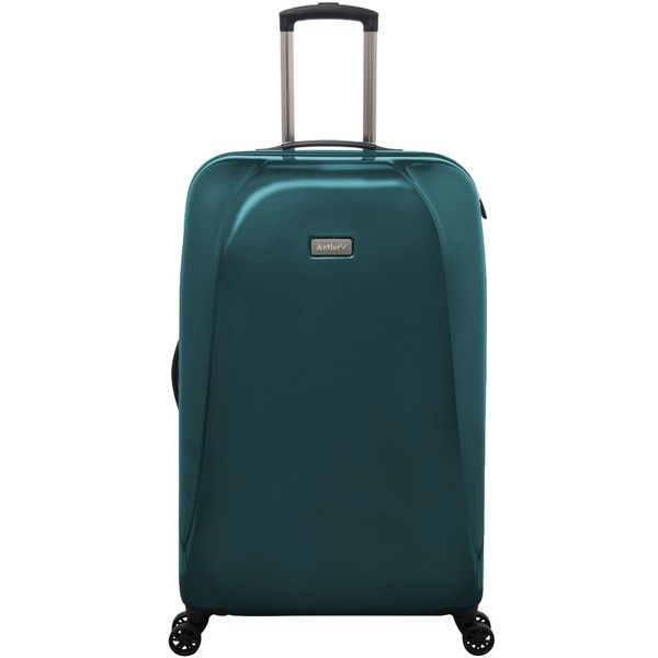 Antler Puck Teal 4 Wheel Hard Large Suitcase (4,160 MXN) ❤ liked on Polyvore featuring bags and luggage