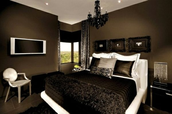 tapeten-farben-ideen-kleines-schlafzimmer-mit-braunen-wänden