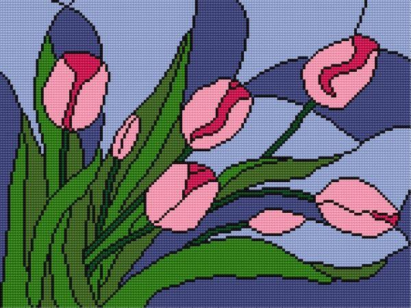 Tulipany (Kwiaty, bukiet, witraż)