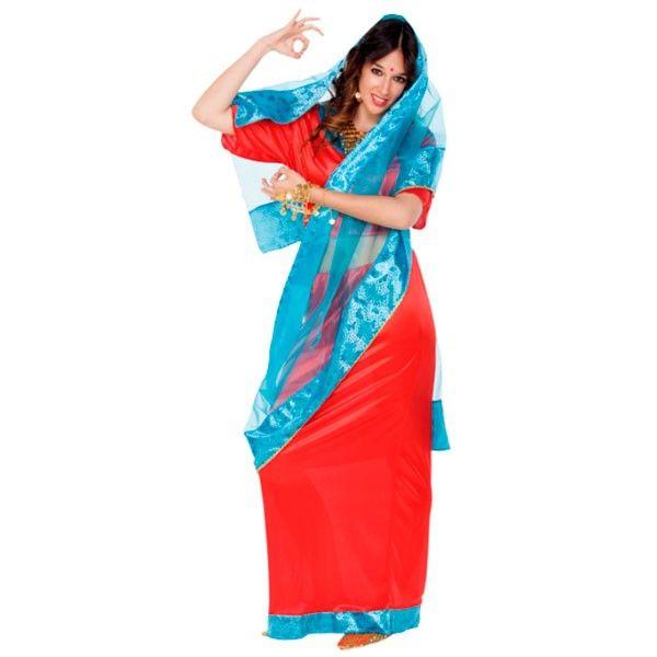 Disfraz de bailarina Bollywood Hindú Un disfraz de bailarina árabe al estilo Bollywood, colorido, muy sexy y que en grupo de amigas es la sensación de las fiestas de Carnavales.
