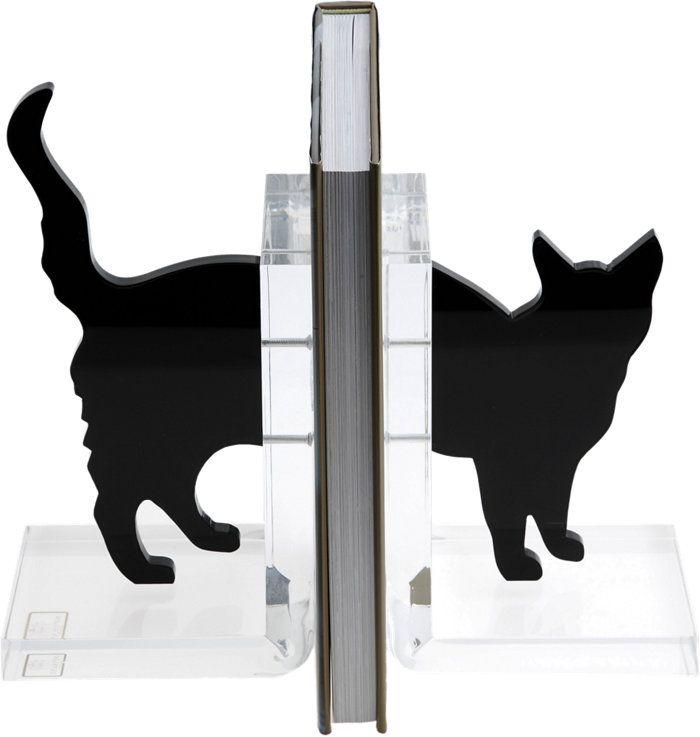 """Cat Bookends - Набор акриловых держатели для книг с черным котом. 7.5 """"в высоту. Доступно в черном. Вручную в Италии. Стиль # 127107372"""