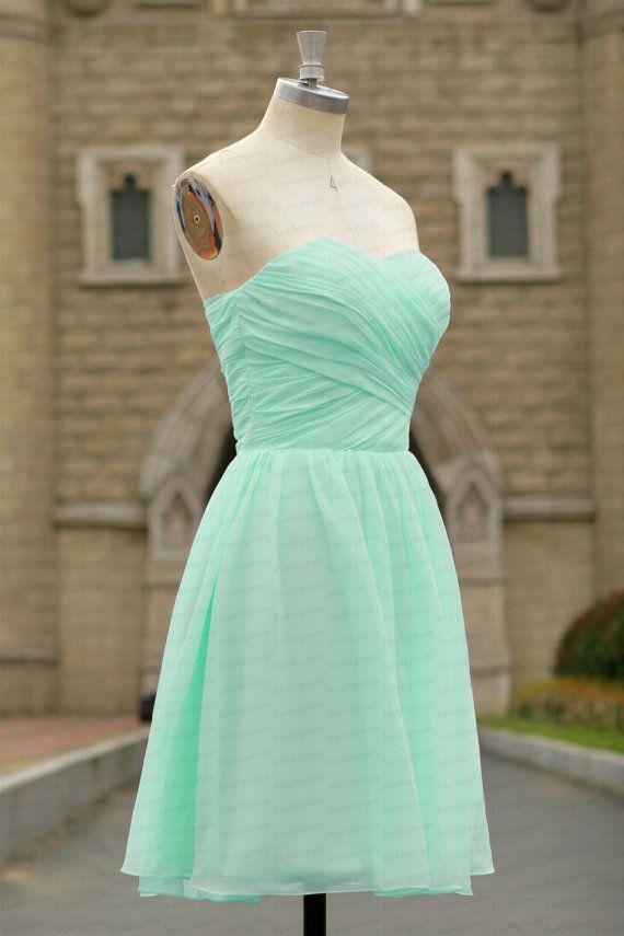 100 % Handmade chiffon Brautjungfer Kleid Minze von loveinprom