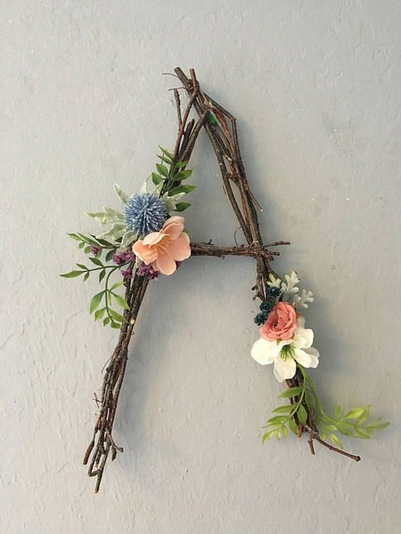 Woodland Nursery Letter, Twig Letter, Twig Monogram, Rustic Wall Letter, Rustic Letter, Baby Girl Nursery, Woodland Nursery, Fairy Decor This fanciful twig monogram is accented with hand-assembled, high-quality, faux flowers. We will custom match it to any color choices; include