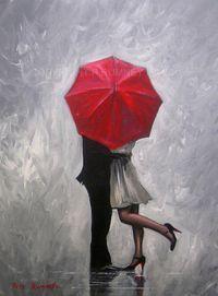 PETE RUMNEY FINE ART BUY ORIGINAL ACRYLIC OIL PAINTING PERFECT LOVE RED UMBRELLA