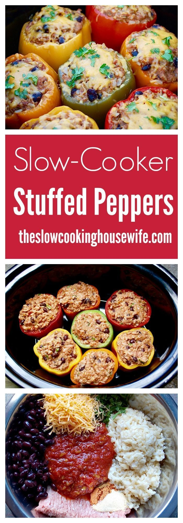 Crock Pot Stuffed Peppers! Easy, delicious, healthy, and packed with protein! So easy! http://www.theslowcookinghousewife.com/slow-cooker-mexican-stuffed-peppers/