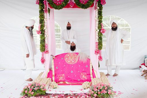 Pink and Green Sikh Wedding Decor  A green, pink and white outdoor Sikh wedding ceremony