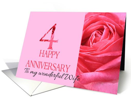 Th anniversary to my wife pink rose close up card