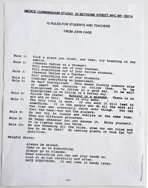"""via the Robert Rauschenberg Foundation, here are """"10 rules for students and teachers from John Cage!"""""""