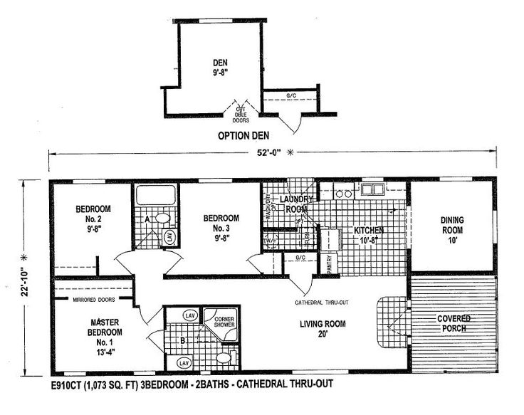 Mobile home blueprints 3 bedrooms single wide 71 e910ct for 1 bedroom mobile home floor plans