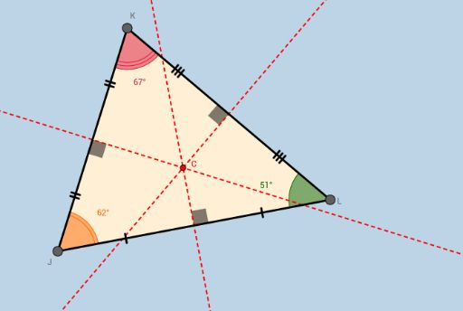 Applet contains a triangle with perpendicular bisectors drawn. Its purpose is to have students discover that the circumcenter of a triangle is the ONLY POINT that is equidistant from the triangle's 3 vertices (and consequently, the center of the only circle one can circumscribe about the triangle.)    The applet also leads students to discover that the circumcenter of a triangle lies INSIDE the triangle IFF the triangle is acute, ON the triangle IFF the triangle is right (at the midpoint of…