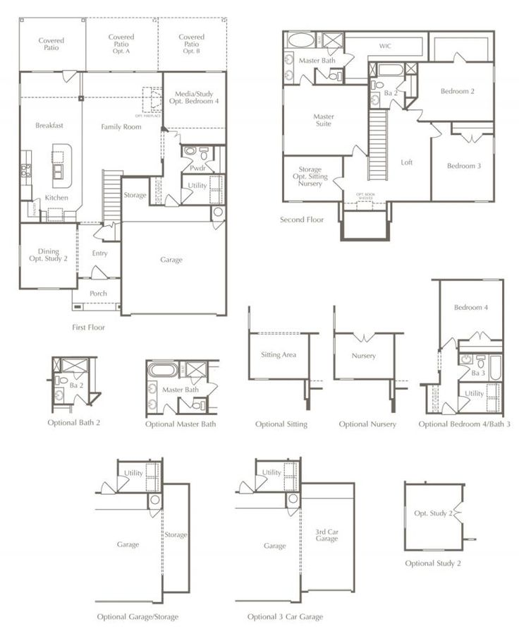 New Home Floor Plan 4 Beds 25 Baths 2510 Square Feet With Optional