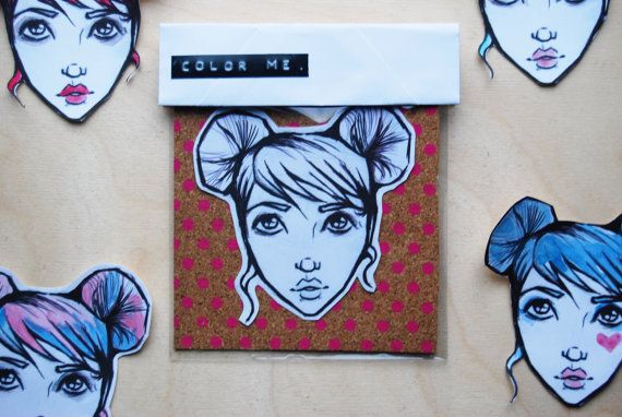 Customize Me Girl Sticker by WAIQ on Etsy