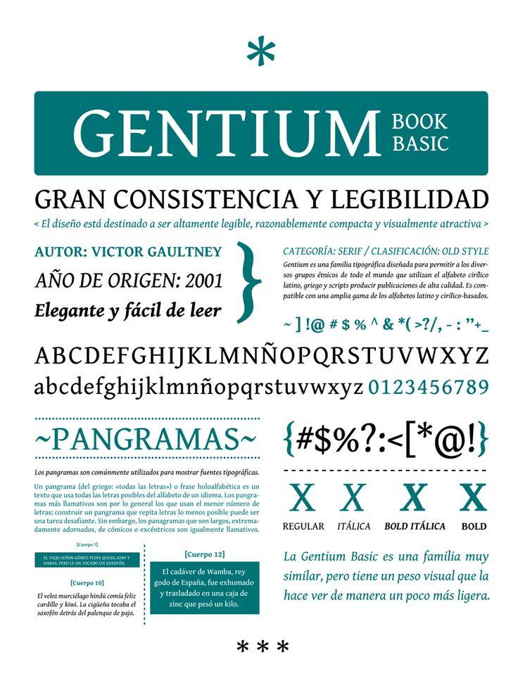 presentación familia tipografica. gentium  tipography