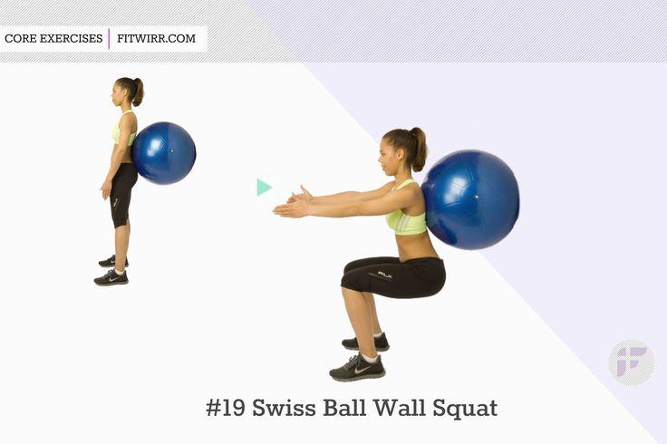 Swiss ball wall squats