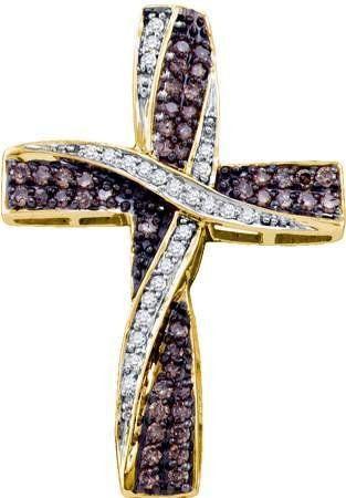 0.57ctw Cognac Chocolate Brown & White Round Diamond Cross Pendant