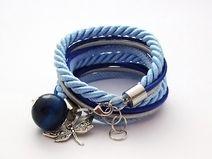 Podwójna bransoletka błękitna